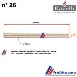 allumage à incandescence pour poêle et insert à granulés de bois RAVELLI  300 watts longueur 160 mm