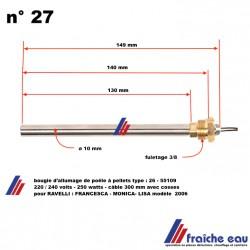 résistance d'allumage de poêle à pellets, granulés de bois  type 55109 - 250 watts - 140 mm