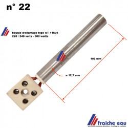 bougie, résistance d'allumage pour Pellet EUROFIAMMA   diamètre 12,7 mm 300 watts avec connecteur à vis