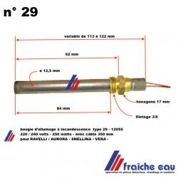 bougie chauffante , résistance d'allumage 250 watts pour poêle à pellets RAVELLI ECOTECK  SNELLINA-VERA-AURORA