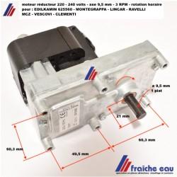 moteur de vis d'alimentation poêle à pellets axe ø9,5 mm/ 3  RPM pour : EDILKAMIN - MONTEGRAPPA- LINCAR - RAVELLI - MCZ