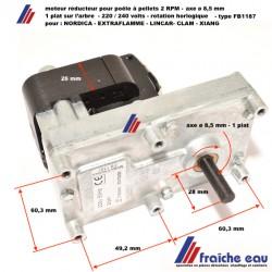 moteur de vis d'alimentation poêle à pellets axe ø8,5 mm/ 2  RPM pour  NORDICA- EXTRAFLAME- CLAM- XIANG - LINCAR