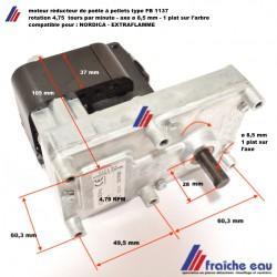 moteur de vis d'alimentation MELLOR pour  poêle à pellets axe ø8,5 mm/ 4,75  RPM pour NORDICA - EXTRAFLAMME
