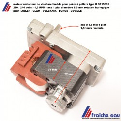 moteur de vis d'alimentation poêle à pellets axe ø8,5 mm/1,5 RPM pour ADLER - CLAM - VULCANIA - DEVILLE - PUROS