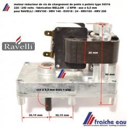 moteur pellets  MELLOR  rotation : 2 RPM pour RAVELLI HRV 100-140-160 TOUCH , HR EVO SLIM