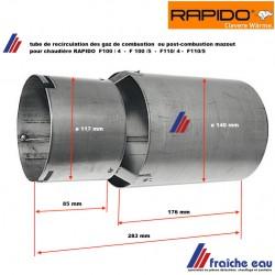 tube de flamme, pour la recirculation , post combustion des gaz RAPIDO  503625  de brûleur  sur chaudière  F110/4 et F 110/5