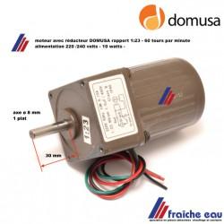 moteur réducteur pour chaudière DOMUSA BIOCLASS   rapport 1/ 23  - vitesse de rotation : 60 tours / minute  alimentation : 220 /