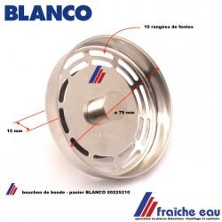 bouchon, de crépine, clapet de bonde a panier BLANCO 00225210,  fermeture d'évier inox fonctionnement manuel