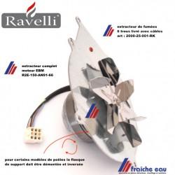 extracteur de fumées pour poêle RAVELLI  20000-25-001 livré avec kit de câble et condensateur-moteur EBM R2E-150-AN-91-66