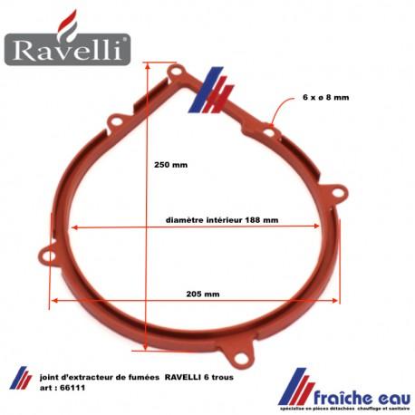joint 66111 en silicone haute température noir ou rouge pour extracteur de fumées à 6 trous RAVELLI