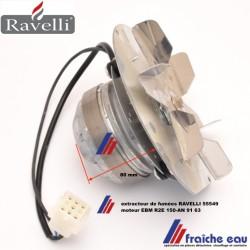 extracteur de fumées 55549  pour poêle à pellets RAVELLI, aspiration des gaz de combustion pour feu à granulés de bois