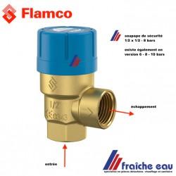 soupape de sécurité pour circuit sanitaire FLAMCO 8 bars  sécurité contre la sur pression PRESCOR art:  27101