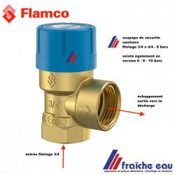soupape de sécurité sanitaire 8 bars pour chauffe eau   FLAMCO 27111, filetage 3/4  art 27111 soupape de décharge PRESCOR