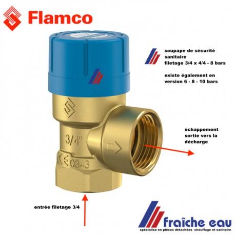 soupape de sécurité sanitaire 8 bars pour chauffe eau   FLAMCO 27111, filetage 3/4  art 27111 ,PRESCOR