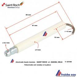 electrode d'allumage de brûleur mazout saint roch / bentone / enertech , électrode haute tension 1-43105 zaegel Held