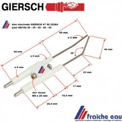bloc électrode d'allumage , reparatieonderdelen stukken  brûleur GIERSCH GB100-30-35 article 47 90 22084