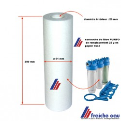 cartouche de filtre par sédimentation  25 microns  en papier tissé , échange standard pour filtre  PURIFO