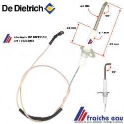 électrode d'allumage  DE DIETRICH pour brûleur gaz art : 95332802 cette pièce est compatible : REMEHA- BROTJE- CHAPPEE- OERTLI