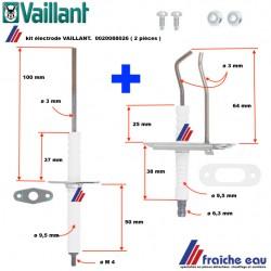 kit électrode 2 pièces VAILLANT  0020088026, Elektrode (set) 2 stuk  ionisation et allumage