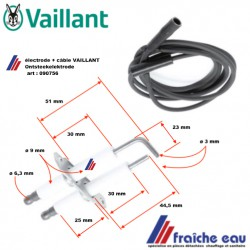 électrode d'allumage haute tension avec câble 090756 VAILLANT , Ontsteekelektrode met hoogspanningskabel