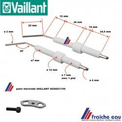 kit paire électrode  VAILLANT 0020021156 pour brûleur fioul,  ontsteekelektrode voor stookolie, oliebrander