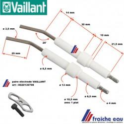 kit paire électrode  VAILLANT 0020130798 pour brûleur fioul,  ontsteekelektrode voor stookolie, oliebrander