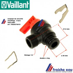 soupape de sécurité chauffage 3 bars exécution en plastique  VAILLANT  0020275015 , Veiligheidsklep, 3 bar