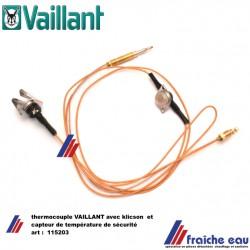 thermocouple avec klicson et limite de température VAILLANT 115203 temperatuurbegrenzer met thermokoppel