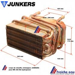corps de chauffe , échangeur JUNKERS pour NR 440 KG hydropower, foyer pour chauffe eau instantané au gaz