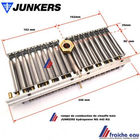 rampe de combustion avec 18 brûleurs JUNKERS pour chauffe bain HYDROPOWER WR 440 KG