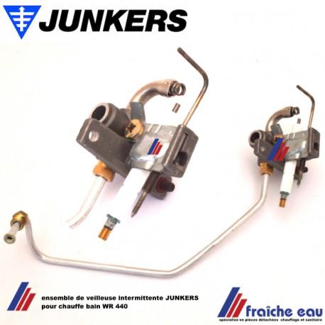 bloc veilleuse avec électrode d'allumage et tube gaz JUNKERS pour chauffe bain WR 440 hydropower