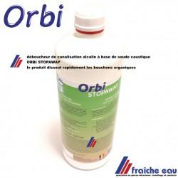débouche les canalistions,  liquide alcalin ORBI STOPAWAY 1 litre , dissout facilement tous les résidus organique