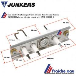 bloc électrode JUNKERS  8718664920 avec bougie d'allumage haute tension et détection de flamme par ionisation, et verre de visée