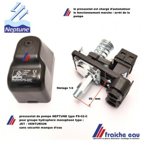 pressostat  PS-02-C de pompe ,wisselstukken NEPTUNE réglage de pression d'usine pour type JET- VENTURION, raccordement monophase