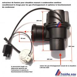 extracteur de fumées RAPIDO GPH AK 28, tirage forcé, ventilateur de tirage automatique pour chaudière condensation fioul