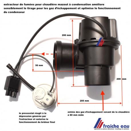 extracteur de fumées , ventilateur de tirage automatique pour chaudière condensation fioul