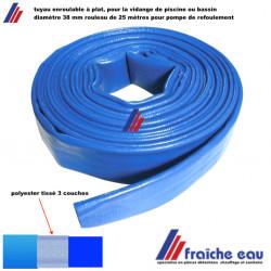 tuyau souple bleu conditionné à plat diamètre 38 mm, rouleau de 25 mètres pour la sortie de la pompe de refoulement des eaux