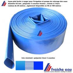 tube souple bleu HYDRO S enroulé à plat diamètre 63 mm, rouleau de 25 mètres, sortie  pompe pour relevage ,évacuation des eaux