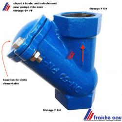 clapet à boule passage intégral  filetage FF 6/4  anti refoulement en postion verticale pour pompe de relevage en eau chargée