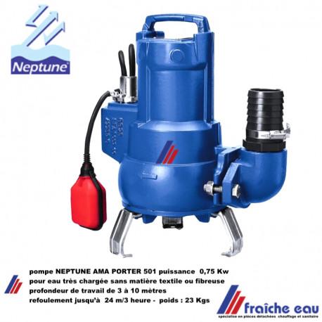 pompe de relevage pour eaux très chargées NEPTUNE AMA PORTER 501avec flotteur puissance  0,75 Kw, relevage des eaux vanne