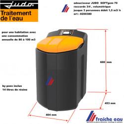 adoucisseur volumétrique JUDO SOFT GEM 70 art : 8200380, by pass inclus ,décalcarisateur, traitement de l'eau pour 2 à 3 pers