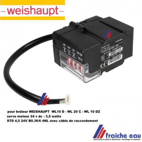 servo moteur WEISHAUPT  TYPE 651102 STD 4,5 BO 36/6 avec câble , actionneur, moteur pas a pas de clapet d'air de brûleur fioul