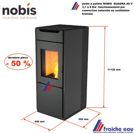 poêle à pellets NOBIS QUADRA A8V puissance 8 kw fonctionnement silencieux chauffage par convection naturelle ou ventilation