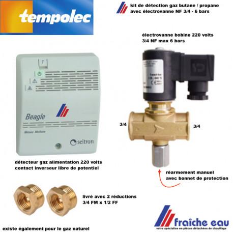 ensemble kit de détection GAZ HOME TEMPOLEC pour butane-propane avec buzzer et électrovanne gaz filetage 3/4
