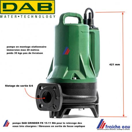 pompe de relevage submersible pour eaux très chargées DAB GRINDER FX15-11-MA avec broyeur intégré pour eaux fécales et fibreuses
