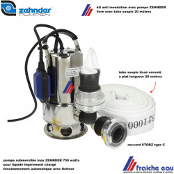 kit anti inondation, pompe inox ZEHNDER 750 watts, automatique ,relevage jusque 6 mètres, avec tube souple 20 mètres