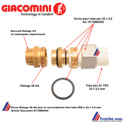 écrou filetage AA 28 pour le raccordement d'un tube alupex, multicouche diamètre 32 x 3,5 mm GIACOMINI, art : R179 MX 045