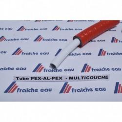 tube multipex, pex, multiskin 16 mm , avec isolation rouge en rouleau de 50 mètres pour le chauffage et le sanitaire