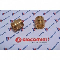 raccord droit manchon GIACOMINI  filetage AA  22 x AA 22 pour accouplement sur tube pex-al-pex ø26x 3