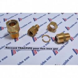 raccord pour l'assemblage avec tube inoxydable semi-souple  TRACPIPE, pour tous gaz en basse pression